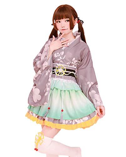 [milky time] 浴衣 和風 ミニスカ 可愛い コスプレ ハロウィン コスチューム セット 夏祭り 花魁 (グリーン)
