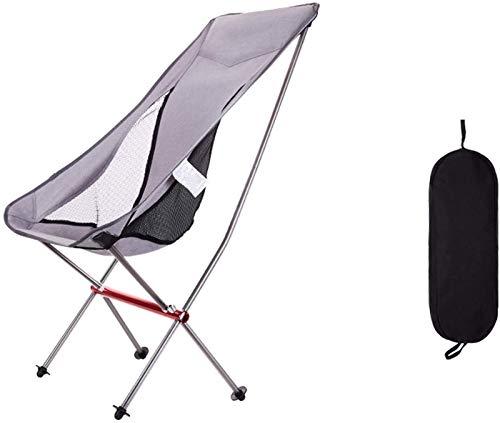 CWT - Silla plegable para exteriores, portátil, ocio, playa, camping, bosquejo, pesca, pesca, respaldo, 68 x 43 x 58 cm, color plateado (color: plata, tamaño: 98 x 36 x 47 cm)