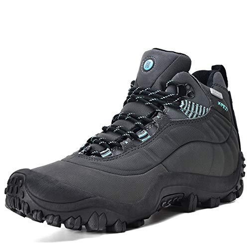 Manfen Women's Hiking Boots Lightweight Waterproof Hunting Boots, Ankle Support, High-Traction Grip Grey/Blue