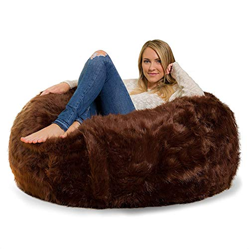 Nexis Sundry Ultra Soft - Comfortable Machine Washable Brown Faux Furry Glam Tear Drop Slacker Bean Bag Chair Cover Only - (No Filler)- Cover Only - XXXL (48'' x 36'')