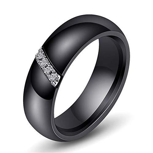 PAURO Oblique Barre Zircon Engagement Mariage Bande Bague Femme Céramique Noir Taille 62