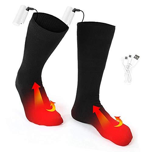 AGKupel Chaussettes Chauffantes électriques avec 3 Fichiers de Température Réglable Chaussettes Thermiques 5 Heures Durable pour Cyclisme Ski Camping Randonnée