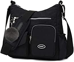 Water-Resistant Crossbody Bag for Women Shoulder Travel Purse Nylon Messenger Satchel Lightweight Handbag