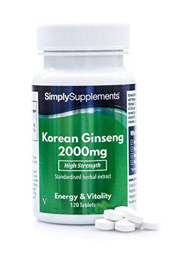 Ginseng coreano 2000mg - ¡Bote para 4 meses! - Apto para veganos - 120 comprimidos - SimplySupplements