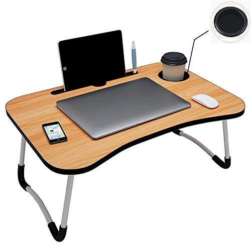 Piyuda Foldable Laptop Table with Cup Holder, Study Table, Bed Table, Breakfast Table, Foldable and Portable Laptop Table (Made in India) (Black)
