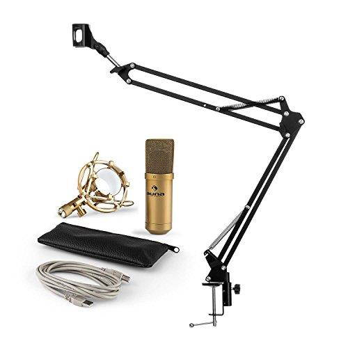 auna MIC-900G - Mikrofonset V3, Heimstudio-Set, 2-teilig, USB-Kondensatormikrofon, faltbarer Mikrofonarm, Mikrofonhalterung, Mikrofonspinne, Nierencharakteristik, schwarz/gold