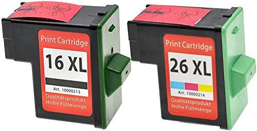 Pack de ahorro OBV 2 x cartuchos de tinta (tinta) sustituye a Lexmark{16} +{26} /{17} +{27} para X1100/X1110/X1130/X1140/X1150/X1155/X1160/X1170/X1180/X1185/X1190/X1195/X1196/X1200/X1250/X1270/X1290/X2225/X2230/X2250/X72/X74/X75/X75/M/Z13/Z23/Z23/E/Z24/Z25/Z25/L/Z33/Z34/Z35/Z503/Z510/Z511/Z512/Z514/Z515/Z516/Z517/Z52O/Z601/Z602/Z603/Z605/Z611/Z612/Z614/Z615/Z617/Z640/Z645/Z717/Z817/Z819