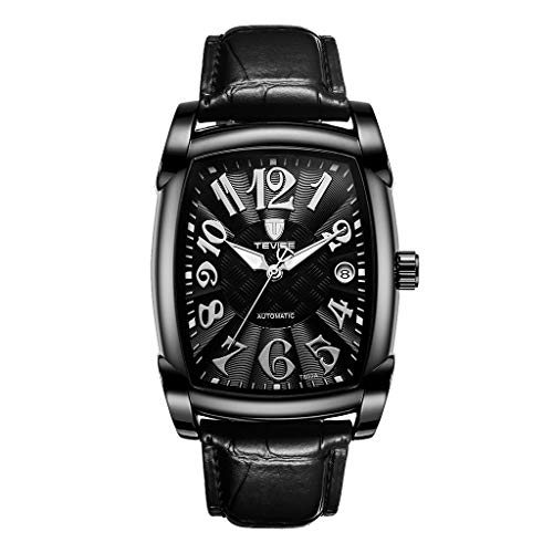 chiwanji Reloj Automático para Hombre, Correa de Cuero, Esfera Impermeable, Reloj de Pulsera Mecánico - Negro
