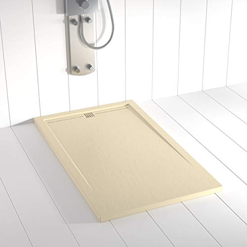 Shower Online Plato de ducha Resina FLOW - 70x90 - Textura Pizarra - Antideslizante - Todas las medidas disponibles - Incluye Rejilla Color Crema y Sifón - Crema RAL 1015