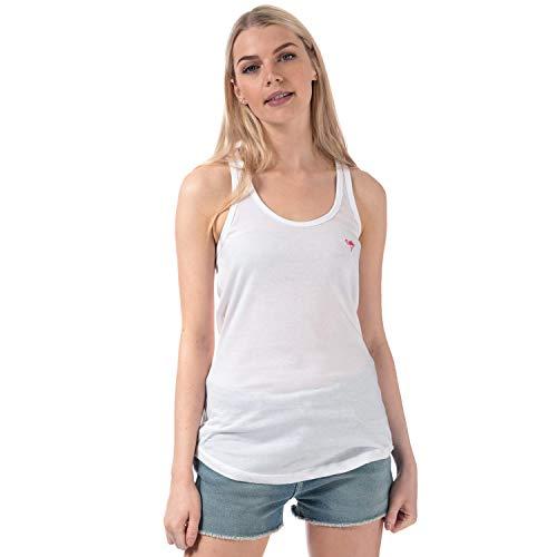 Brave Soul Flamingo - Camiseta de tirantes para mujer, color blanco blanco M