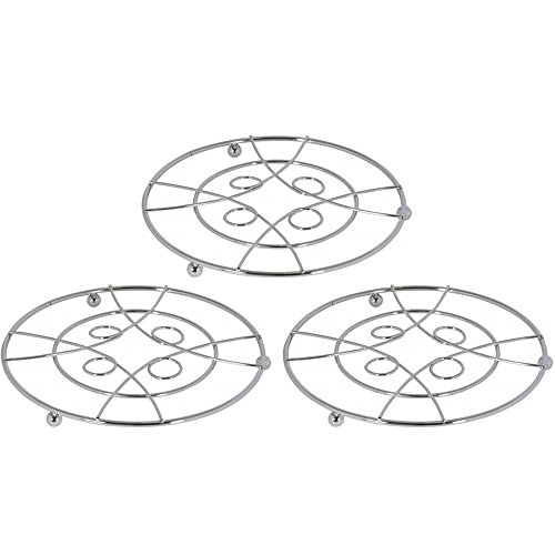com-four® Trivet 3X Hecho de Alambre de Cromo en un Gran diseño - Trivet Redondo para ollas, sartenes o teteras - Ø Aprox.20 cm