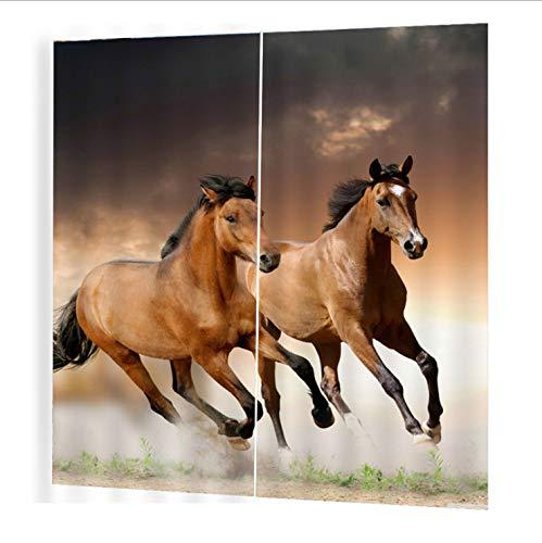 Wegji Modern Paard Gordijn Na Het Paard Galloping Geluid Isolatie Zonnebrandcrème Waterdichte 3D Gordijn 150X166Cm