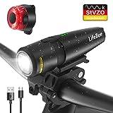 LIFEBEE Fahrradlicht LED Set, USB Fahrradlichter Stvzo Zugelassen Vorne Fahrradbeleuchtung, IPX5 Wasserdicht Fahrradlampe Rücklicht Set Wiederaufladbare 2600mAh Aufladbar