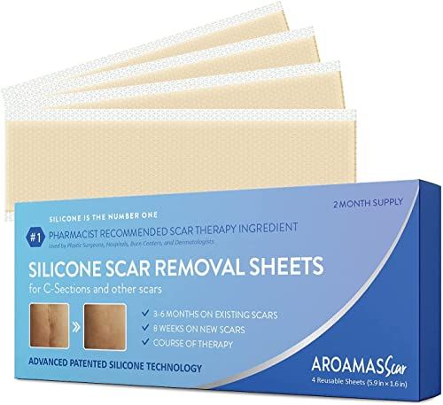 Aroamas Professional Silicone Scar Removal Sheets for Scars Caused by C-Section, Surgery, Burn, Keloid, Acne, and more, Soft Adhesive Fabric Strips, Drug-Free [5.7'x1.57', 4 Sheets for 2 Month Supply]