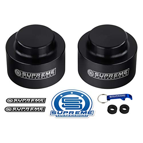 Supreme Suspensions - Rear Leveling Kit for Chevrolet Avalanche 1500, Suburban 1500 and Tahoe 2' Rear Lift T9 Aircraft Billet Aluminum Coil Spring Spacers 2WD 4WD (Black)