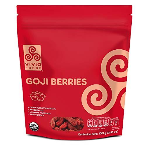 Vivio Foods, Goji Berries Orgánicas, 100 gramos