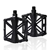 PUPOUSE Mountain Bike Pedals MTB Pedal for BMX 9/16 Non-Slip Lightweight Aluminum Alloy Off Road Bicycle Cycling Platform Cycle Pedal (Black)