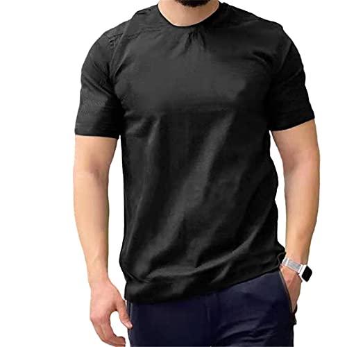Shirt Hombre Moderno Urbano Regular Fit Cuello Redondo Hombre Correr Shirt Verano Simplicidad Moda Color Sólido Manga Corta Diario Casual Cómodo All-Match Hombre Camiseta A-Black XL