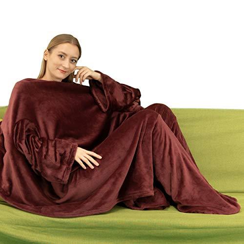 Winthome着る毛布 ブランケット 袖付き毛布 着るブランケット防寒 軽量 冬の寒さ 足先の冷えや節電対策に 男女兼用 足入れ付き (ワインレッド)