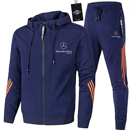 GUCCPAI Herren und Damen Sportanzug Für Mercedes-Ben.Z A.M.G Zweiteilige Jacke Pants Stripe mit Kapuze Trainingsanzug Mantel SPONYBORTY/Lila/L