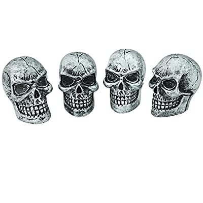 Abfer Skull Tire Wheel Air Cap Valve Stem Covers Car Decorative Accessories Fit Most Vehicle Truck Motorcycles Bikes (Silver) by Abfer