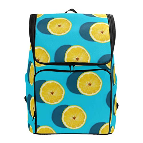 Laptop Rugzak Blauw Achtergrond Fruit Citroen Patroon Grote Capaciteit Tas Reizen Daypack