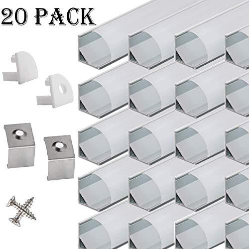 LED Aluminium Eckprofil 45 grad - 20x100cm LED Aluminium Profil für LED-Streifen/Leisten mit Weiß Milchige Abdeckung,Endkappen,und Montageklammer