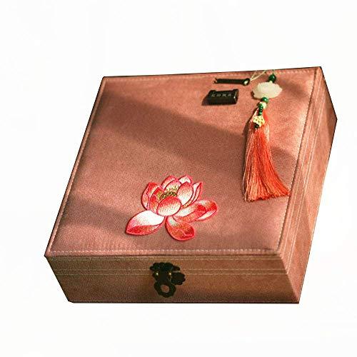 Cajas de joyería, Caja de joyería, Caja de joyería Retro China Bordado de Bordado de Cobre Letras Collar Pendientes Anillo Caja de Almacenamiento Caja de joyería