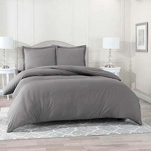 Nestl Bedding Duvet Cover, Protects and Covers your Comforter/Duvet Insert, Luxury 100% Super Soft Microfiber, Queen Size, Color Charcoal Gray, 3 Piece Duvet Cover Set Includes 2 Pillow Shams