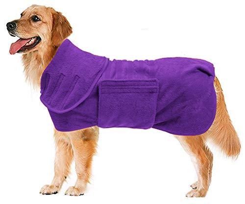 Geyecete - Albornoz para perros (microfibra, secado rápido, superabsorbente, para mascotas, gatos, gatos, gatos, color morado