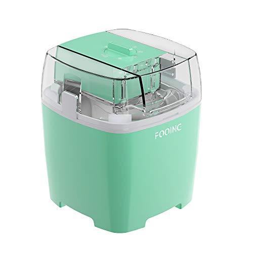 FOOING Eismaschine Speiseeisbereiter 1,5L mit Drehknopf (5 bis 30 Minuten), Edelstahl-Heim-Speiseeismaschine, Geeignet für Sorbet, Gefrorenen Joghurt und Eis, Einschließlich Rezept und Pappbecher