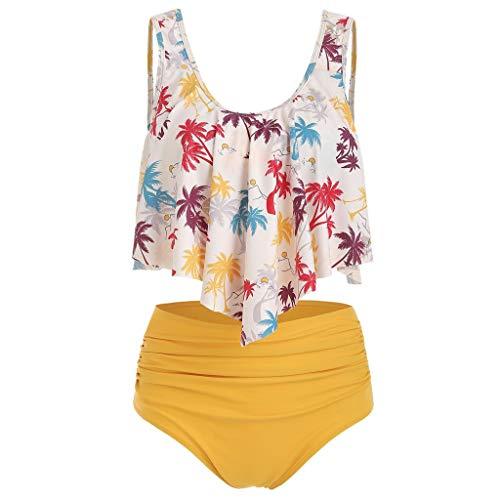 NPRADLA Traje de baño Mujer, monocini, Verano, Volantes, Dos Piezas, Talla Plus, sin Espalda, con Estampado Floral, con Cintura Alta, Conjunto de Bikini para Mujer Amarillo XL