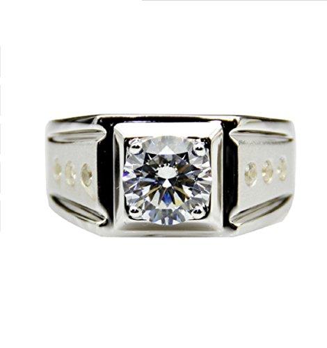 GOWE Certified 2 CT Moissanites Lab Grown Diamond Ring 9k White Gold Dot Accents Men's Wedding Band