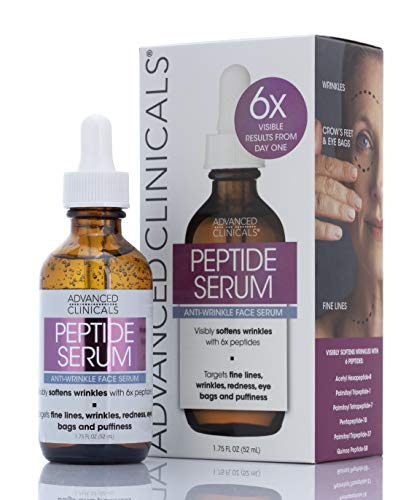 Advanced Clinicals Peptide Serum for Wrinkles, Fine Lines, and Puffiness Moisturizing Anti-Wrinkle Face Serum with Collagen Plumps, Lifts, Evens Skin Tone Made with Natural Extracts in the USA.