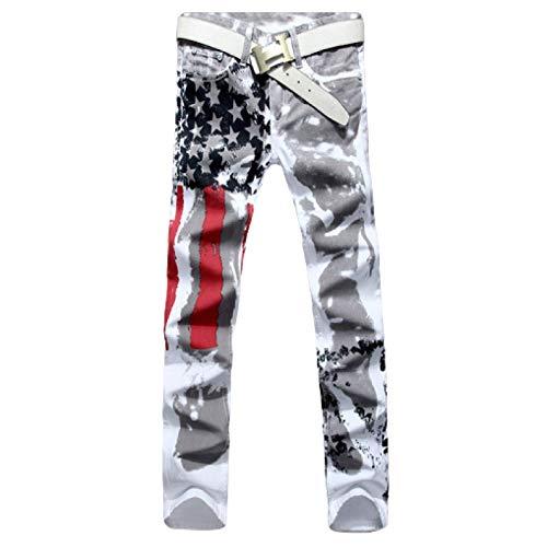 Beastle Pantalones Vaqueros para Hombre Pantalones Vaqueros Ajustados elásticos con Estampado de Moda 3D de Europa y América Pantalones Vaqueros Sueltos de Gran tamaño con Pierna Recta 36