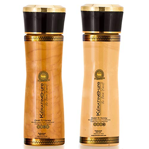 Sulfate Free Shampoo Conditioner Set - Best for Damaged, Dry, Curly or Frizzy Hair Thickening for Fine Thin Hair, Safe for Color-Treated Keratin Cure Brazilian Gold & Honey 4 oz