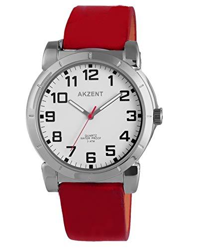 Akzent Sportlich elegante Herren Uhr mit Echlederarmband bordorot