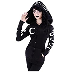 Women's Hoodie Jacket Gothic Casual Hooded Zip Up Long Sleeve Sweatshirt Top Jacket Coat Gothic Clothes for Teenager Girls #1