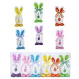 Ulikey Lot de 6 Oeufs de Pâques en Forme de Lapin Colorés, Oeuf Pâques Décoration Table Oeufs Mignon Cadeau pour Enfants