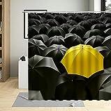 Cortina de Ducha Paraguas de día lluvioso Tejido de Poliéster Estampado Cortina Baño con 12 Ganchos 180x180 cm