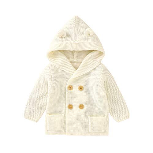 Muium(TM) Chaqueta de punto con capucha para bebé, de ganchillo, para exteriores, invierno, chaqueta de punto con capucha Blanco 70 cm