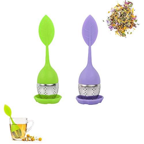 2 Pcs Filtro tè, infusore per tè, Filtro per tè, Infusore Foglia Verde in Silicone Alimentare con Colino Integrato in Acciaio Inossidabile e Tappetino per Appoggiare (Viola + Verde)