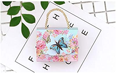 XLPD 30Pcs Blue Purple Butterfly Flower Candy Paper Gift Bag with Handle Wedding Favor Portable Gift