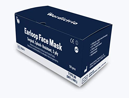 NordicTrio Medizinischer Mundschutz (x50) - Typ IIR, 3-lagige Einmalmasken Mundschutz - Mehrlagiger Vliesstoff mit hoher Filtrationskapazität