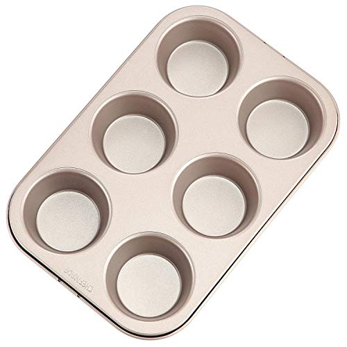 CHEFMADE Popover Cake Pan, 6-Cavity Non-Stick Yorkshire Muffin Cupcake Pan Bakeware for Oven Baking (Champagne Gold)