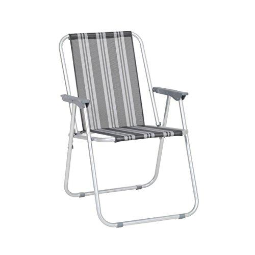 greemotion Piccolo Stuhl Texel silber/grau gestreift, klappbarer Campingstuhl mit Kunststoffarmlehnen, Gartenstuhl aus witterungsbeständiger Textilene, leichtes Aluminiumgestell