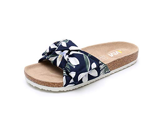 WTW Women Summer Flower Printing Bow Cork Sandals Platform Footbed for Ladies (Size10)