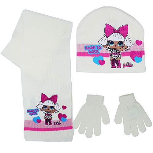 LOL Surprise HS4348 3-delige set, wintercoördinaten, muts, sjaal, handschoenen, meisje, veelkleurig LOL Surprise sjaalmuts en handschoenen - roze - maat 54 (52, wit)