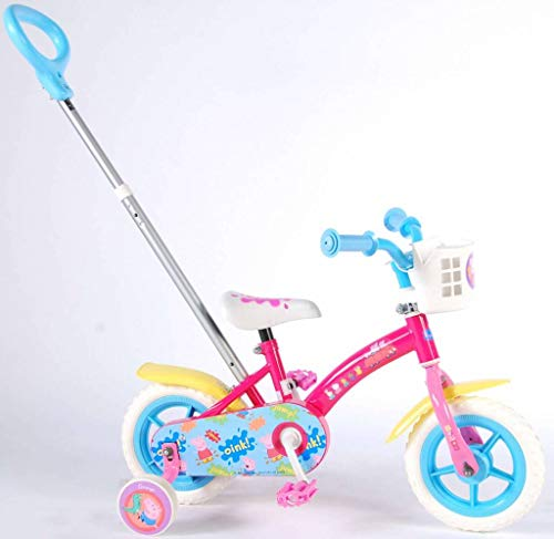Bici Bicicletta Bambina Peppa Pig Scatto Fisso 10 Pollici con Ruotine 85% Assemblata Rosa