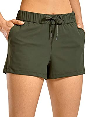 CRZ YOGA Women's Stretch Lounge Travel Shorts Elastic Waist Comfy Workout Shorts with Pockets -2.5 Inches Olive Green Small
